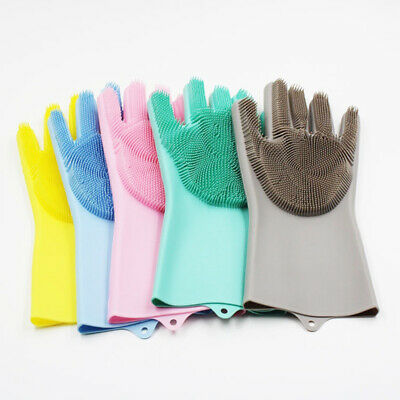 UK 2Pc Magic Silicone Rubber Dish Washing Gloves Cleaning Heat Resistant Kitchen