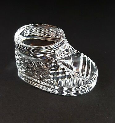 Waterford Crystal Baby Shoe Bootie Sculpture Paperweight Baby Nursery Signed