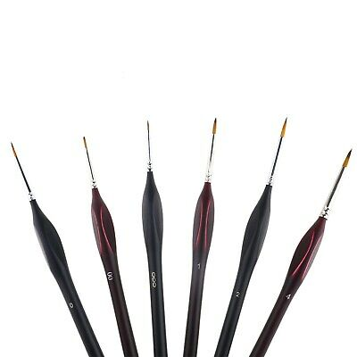 Extra Fine Detail Paint Brushes Set of 6 Art Miniatures Model Maker War Gaming