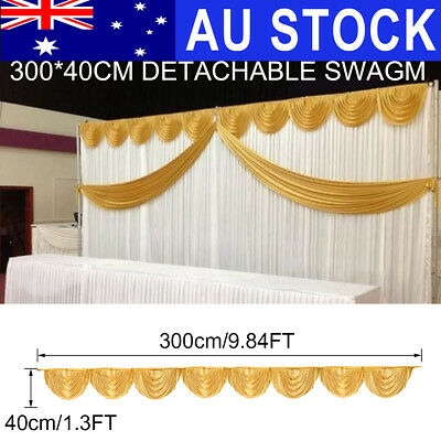 AU 300x40cm Gold Ice Silk Satin Wedding Backdrop Swags Curtain Party Stage Decor