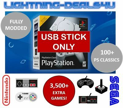 64GB USB Mod For Sony Playstation Classic Mini PS1 + NES SNES Extra Games