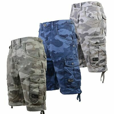Mens Crosshatch Cargo Shorts Combat Camo Army Long Military Knee Length Pants