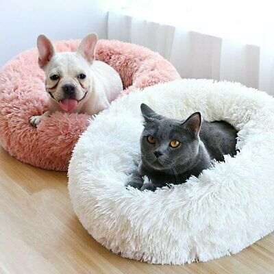 Round Donut Cat Dog Cushion Nest Faux Fur Fluffy Shaggy Sheepskin Igloo Pet Bed