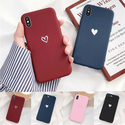 For Apple Silicone Case iPhone X XR XS MAX 6s 8 7 & Plus Matte Rubber Cute Heart