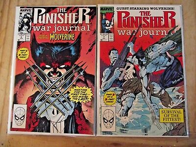 The Punisher War Journal #6, 7 Survival of the Fittest vs Wolverine 1988  FN, VG