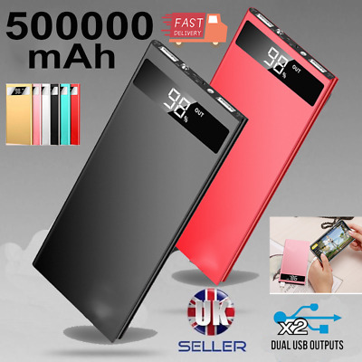 Ultra Thin 9mm Power Bank 500000mAh External Battery Charger with 2USB LED LCD