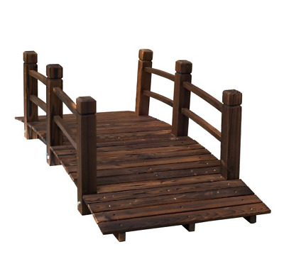 Wooden Garden Bridge Ornament Decorative With Railings Stained For Ponds Streams