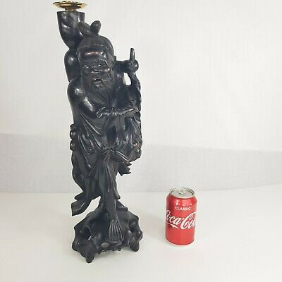 Large Antique Chinese Carved Wood Figure Of A Man / Sage / Immortal 48cm