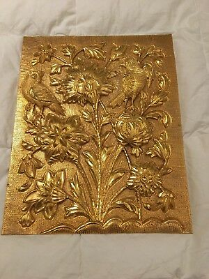 Vintage Persian hand work fine art on copper, Gold plated 30x24cm