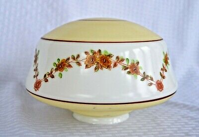 Antique Victorian Art Deco Ceiling Light Glass Painted Shade Globe Floral