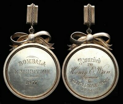 AUSTRALIA : 1877 Bombala Exhibition medal handcrafted in silver. VERY RARE!