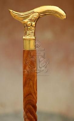 Details about  /Designer Brass Handle Elephant Head Victorian Style Cane For Vintage Style