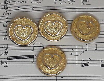 Set of 4 huge 80s statement buttons gold metal with heart to front 35mm
