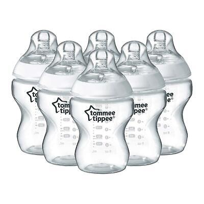 Tommee Tippee Closer Nature Clear Baby Bottles, Feeding Bottles,9oz, 260 ml, x 6