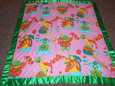 "Vintage 1970"" Pink Animal Print Quilted Baby blanket w Green Satin Trim"