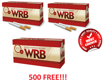 1500 (2x500 + 500 FREE!!!) EMPTY CIGARETTE FILTER TUBES WRB MAKE YOUR OWN,