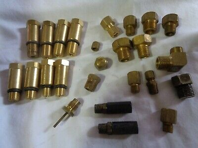 Lot New Used Brass Hose Fittings Air Gas Connectors Valves Adapters Plumbing