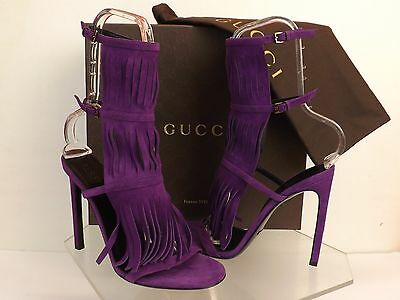 413614838 GUCCI BECKY SUEDE Fringe Tall Gladiator Thongs Boots Sandals 37 I ...