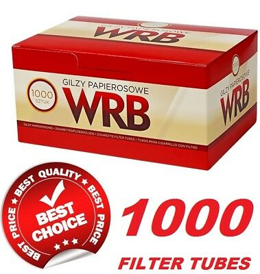 1000 Empty  Cigarette Filter Tubes King Size Wrb Make Your Own Wrb