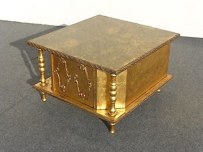 Vintage Hollywood Regency Gold Gilded End Table ~ Coffee Table with Glass Top