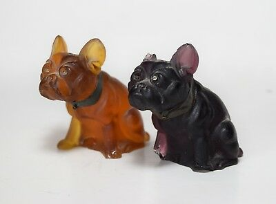 ANTIQUE Frosted Colored Glass Czech FRENCH BULLDOG Figurines Animal Statues Dog