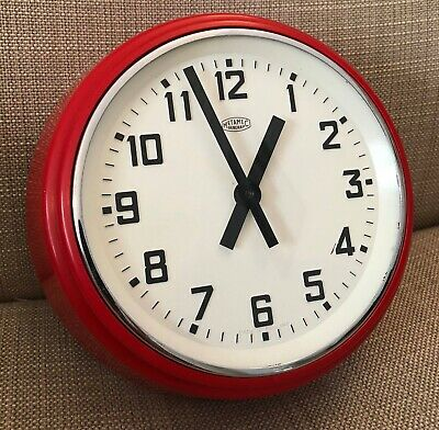 Metamec English Made Retro Wall Clock Vintage Red 70s 60s