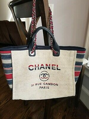 956b600feb24 CHANEL DEAUVILLE 30CM Large Tote Shopping Bag - $3,100.00 | PicClick