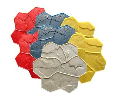 Concrete Stamp Mats. Set of 7pc. GlobMarble SM 1903. Random Stone Stamp Mats