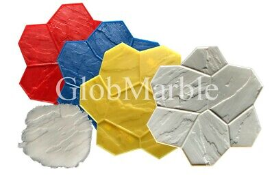 Concrete Stamp Mats. Set of 5 Pc GlobMarble SM 1901. Random Stone stamp mats
