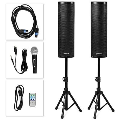 2000W Set of 2 Bi-Amplified Bluetooth Speakers PA System with Mic+Stands+Cable