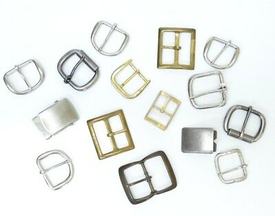 Belt Buckle Lot of 15 Metal Various Brass Silver Color Replacement Parts
