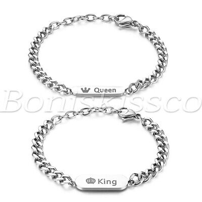 2pcs/lot Unique Queen & King Stainless Steel Bracelet Chain Link Couples Gift