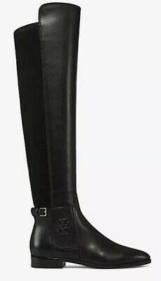 b626e5d76  578 NEW Tory Burch Sz 6.5 Marsden Over the Knee Boot Leather Black Logo