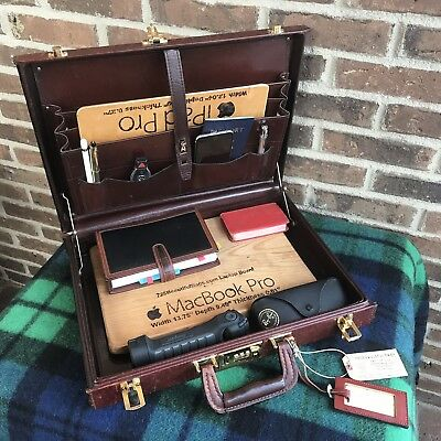 RARE VINTAGE 1980s BELTING LEATHER MACBOOK BRIEFCASE w/ LEATHER LINING R$1098