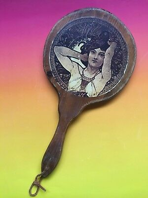 Unique Vintage Hand Held Antique ? Wooden Mirror Victorian With Beautiful Woman