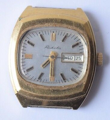 Vintage Collectible Russian Communist USSR Gold Plated Men's Wrist Watch Raketa