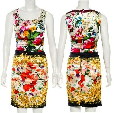 ad96f74d7a7dc AUTH Dolce Gabbana ruched multicolor floral baroque Print silk Majolica  dress 40