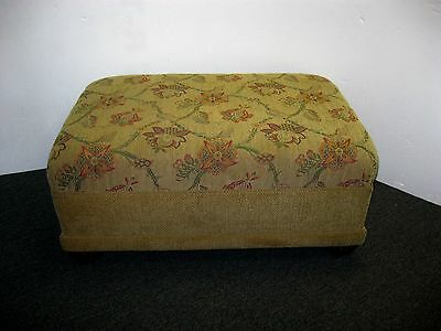 Large Floral & Tan Upholstered Chenille Ottoman