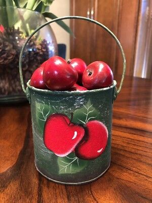 "Approx 7""  Metal Bucket painted with Red APPLES & 13 Wood Red Apples"