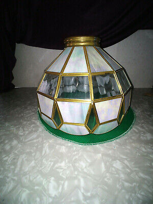 Hand Made Lamp Shade Leaded Glass And Brass Mother Of Pearl And Antique Clear Gl