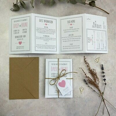 Pink and Grey Handmade Folded Wedding Invitations with Tag, Vintage Rustic Style