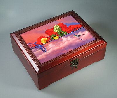 Wooden Jewelry Box with Inlaid Ceramic Tile Cover Yellow Roses