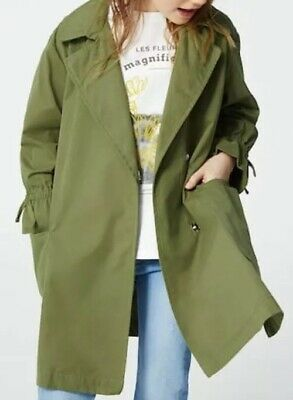 Zara Girls Loose Fit Green/Olive Double Pocket Trench Cost Size 7