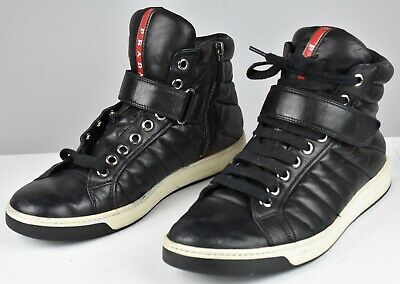 addfdfc699 PRADA PUNTA ALA High Top Men s Sneakers Black Leather Shoes Size 8 ...
