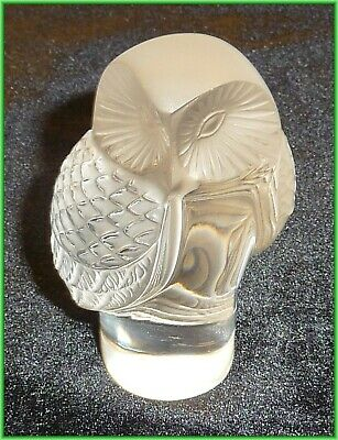 Vintage Lalique France Clear and Frosted Crystal Barn Owl (A)