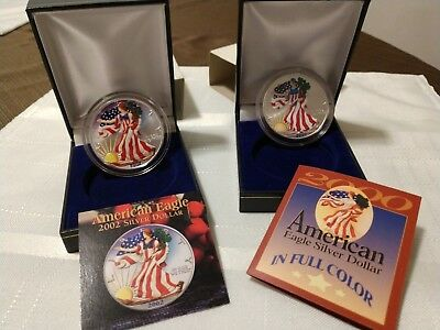 2000 and 2002 AMERICAN EAGLE .999 SILVER DOLLAR IN FULL COLOR WITH COA