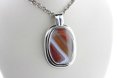Sterling Silver 925 Red & White Banded Fancy Agate Modern Design Charm Pendant