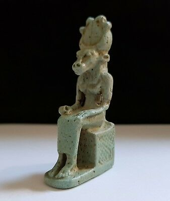 Rare Egyptian Glazed Faience Seated Figure of Mehet - Weret
