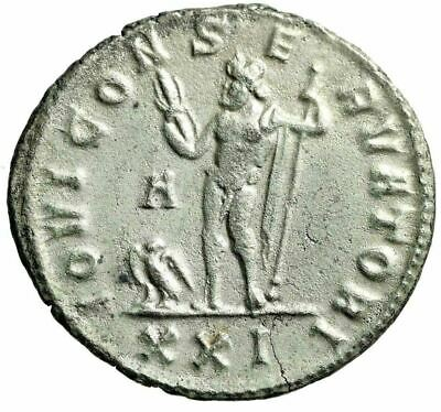 "Diocletian Fully Silvered Antoninianus ""Jupiter Eagle"" Siscia RIC 267 Scarce nEF"