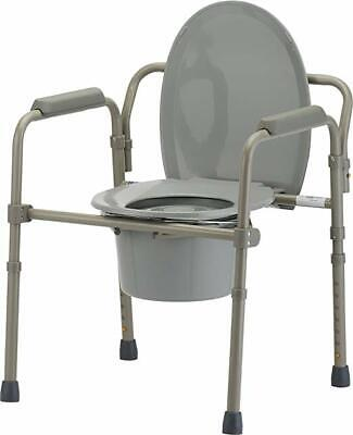 Nova Medical Folding Bedside Commode Seat with Commode Bucket and Splash Guard